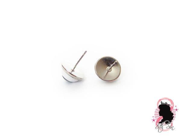 Antique Silver Eyeball Stud Earrings